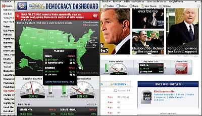 MSNBC.com Politics front, 9 Nov 2006