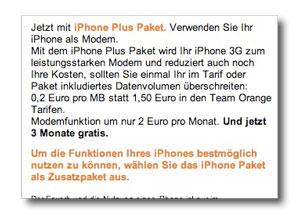 Orange iPhone Plus Paket