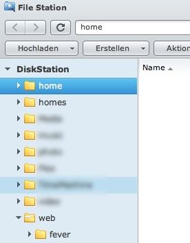 """In den neuen Ordner """"Web"""" auf der Diskstation einen Unterordner, z.B. """"fever"""" anlegen"""