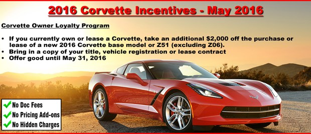 2016 Corvette Incentive Deals in May