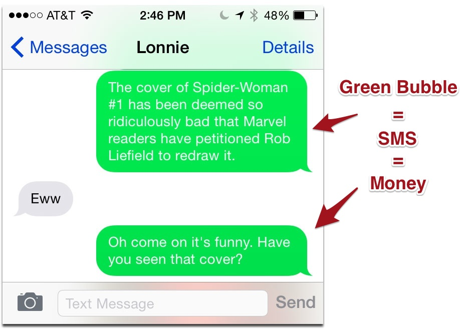 Blue Vs Green Text Iphone