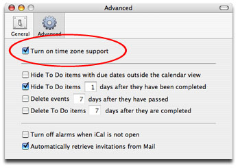 Activate Icalis Time Zone Feature In The Ical Preferences