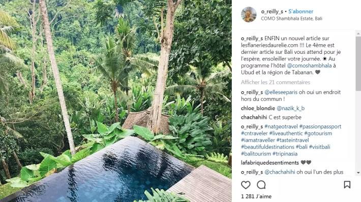 Annonce blog dans légende Instagram