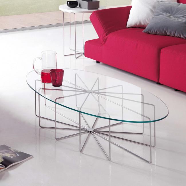 Tavolino in cristallo ovale Silver Glass