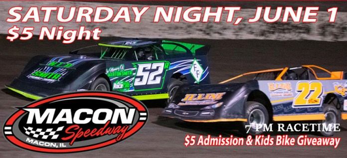IT IS FIVE BUCK NIGHT AT MACON SPEEDWAY – Macon Speedway