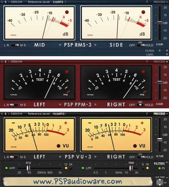 PSP TripleMeter Does VU, RMS & PPM in One Plug-In