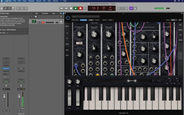 Moog Model 15 AUv3 in Logic Pro