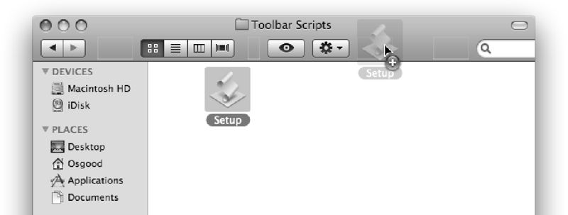 Dragging the script to the toolbar.