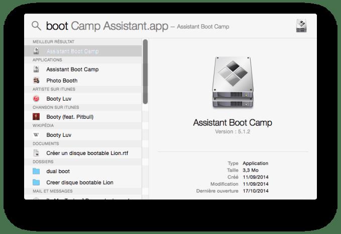 Dual boot Mac Yosemite lancer boot camp