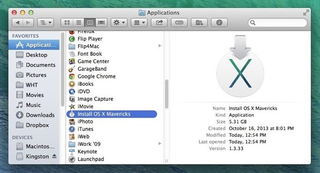 downgrader OS X Yosemite mavericks application installation