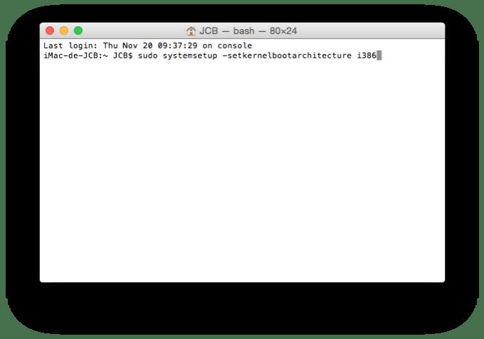 Yosemite en 64 bits yosemite 32 bits terminal