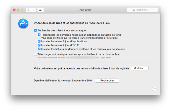 yosemite update configurer automatiquement