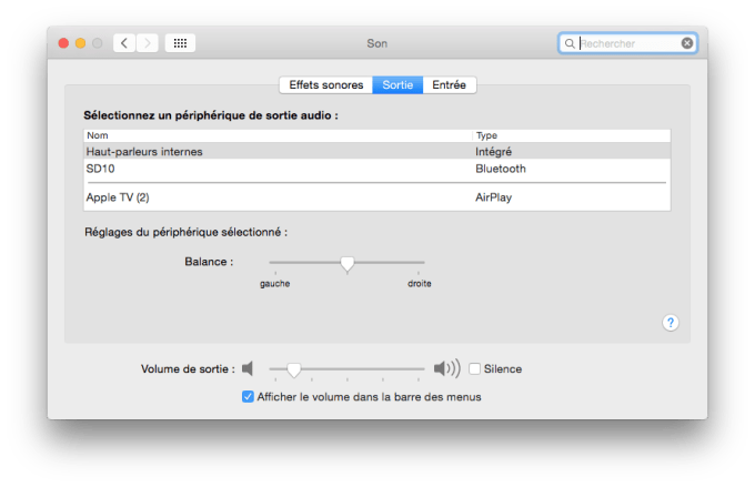 yosemite audio sortie son
