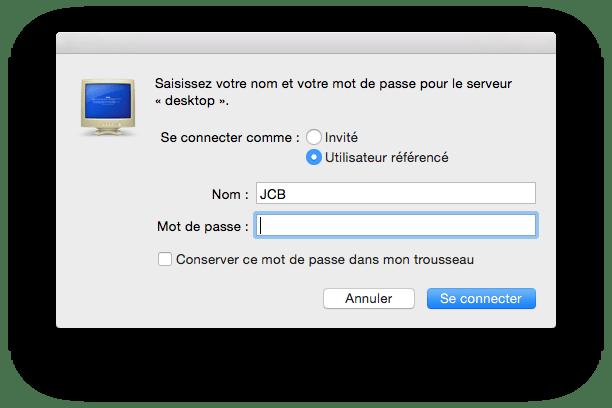 Partage de fichiers Mac windows mod de passe admin