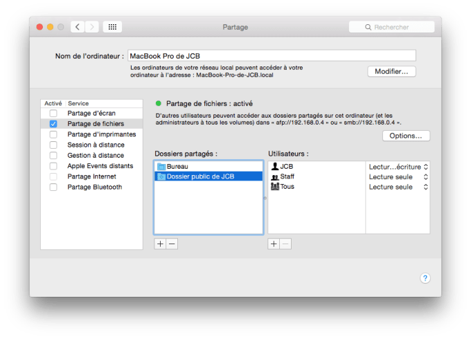 partage de fichiers mac macbook