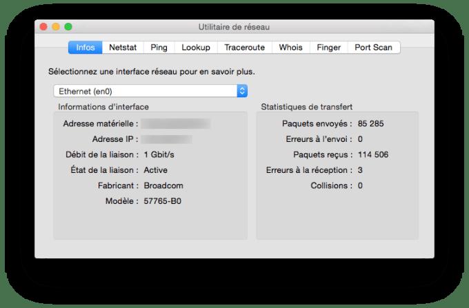vitesse de connexion sur mac ethernet