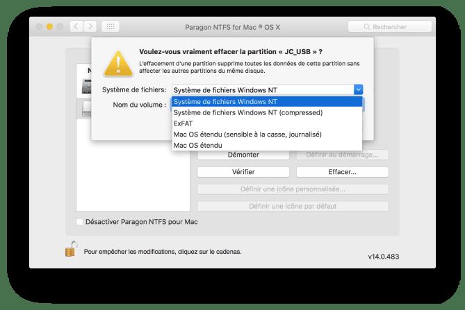 Formater en NTFS sur Mac os x el capitan 10.11