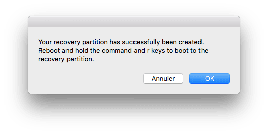 Reparer la partition Recovery Mac operation terminee