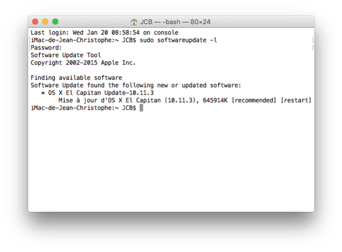 Mac OS X El Capitan 10.11.3 terminal update