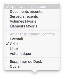 afficher les elements recents dans le dock apps documents volumes elements