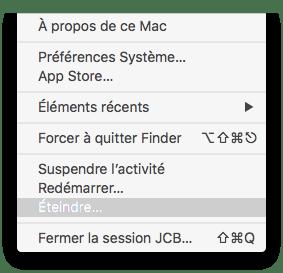 eteindre son mac menu pomme eteindre