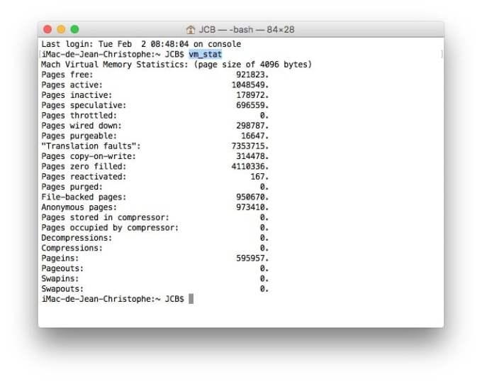 purger la ram mac terminal vm stat