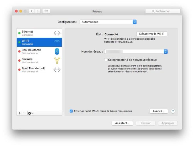 Utiliser WiFi et Ethernet sur Mac wi-fi reglages