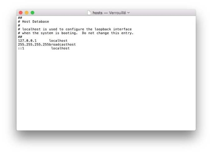 fichiers hosts mac TextEdit