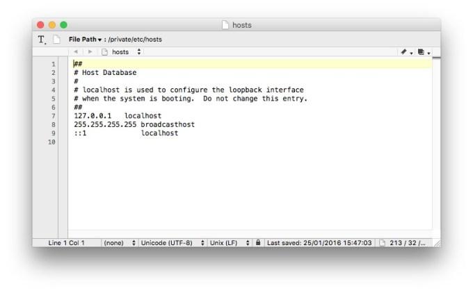 fichiers hosts mac TextWrangler