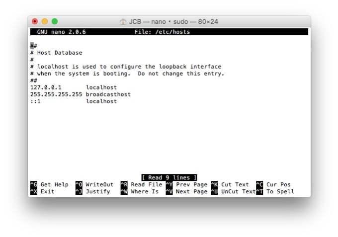 fichiers hosts mac nano