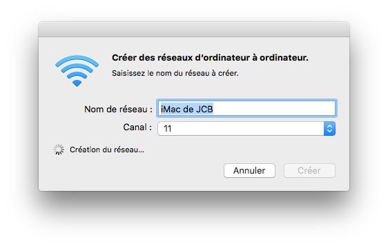 Creer un reseau WiFi sur Mac en cours