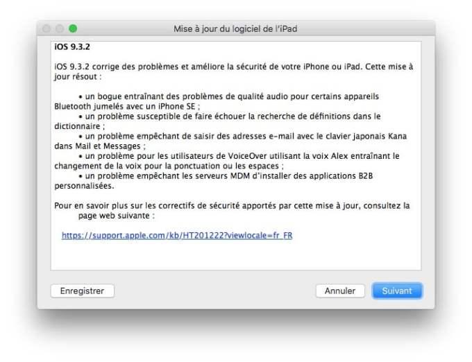 iOS 9.3.2 nouveautes iphone ipad