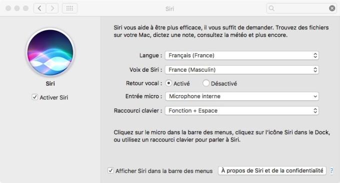 Siri MacOS Sierra raccourci clavier