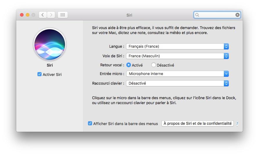 Configurer Siri MacOS Sierra (10.12) - MacPlanete
