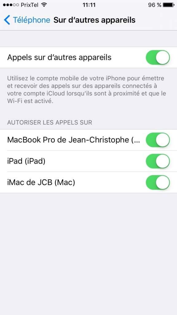 appels wifi sur autres appareils mac
