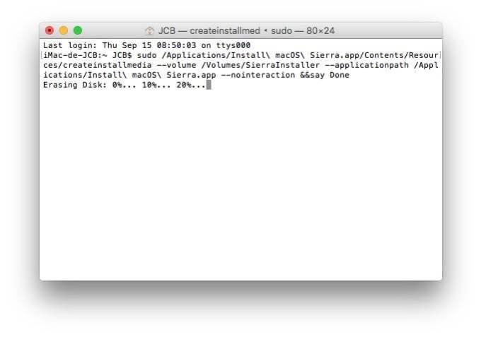 macos sierra creation cle usb bootable terminal