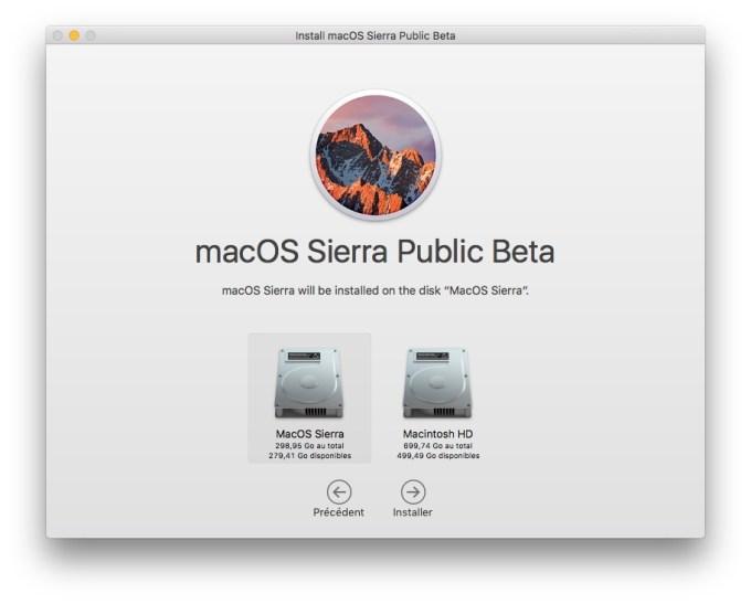 MacOS Sierra beta publique partition