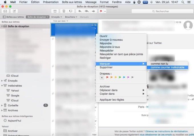 gerer les spams sur mac mail