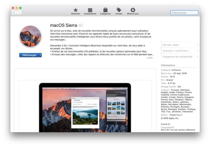 Telechargement macOS Sierra