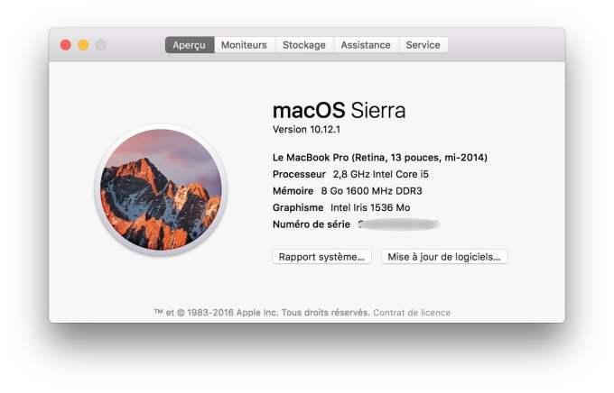 macOS Sierra 10.12.1 update