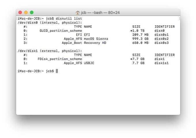 Formater sur Mac avec le Terminal diskutil list