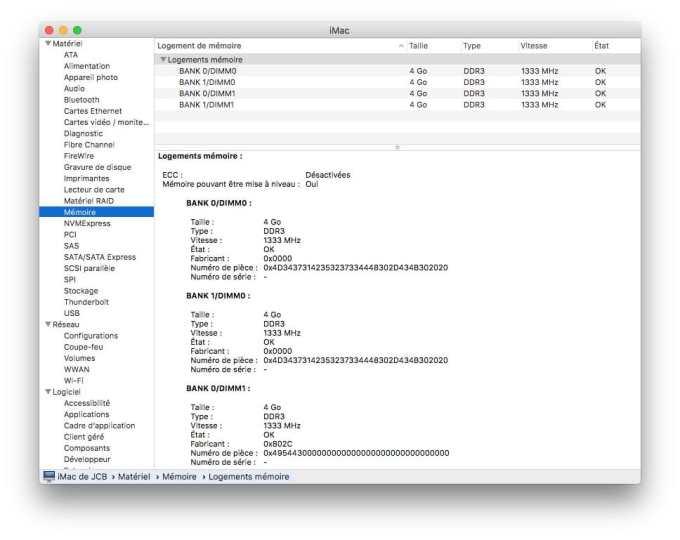 Informations système Mac memoire