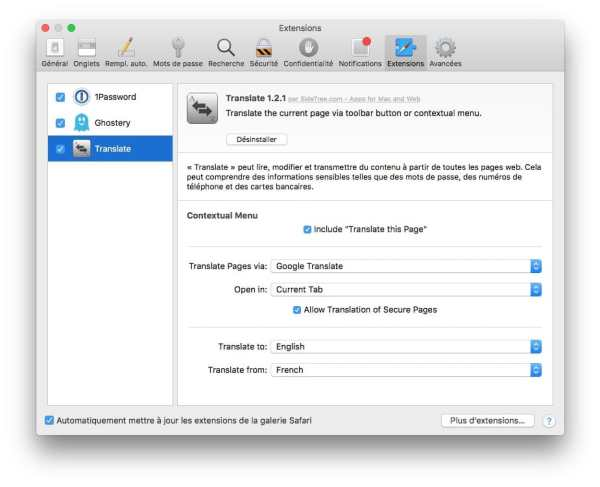 Supprimer une extension Safari mac extensions safari macos sierra