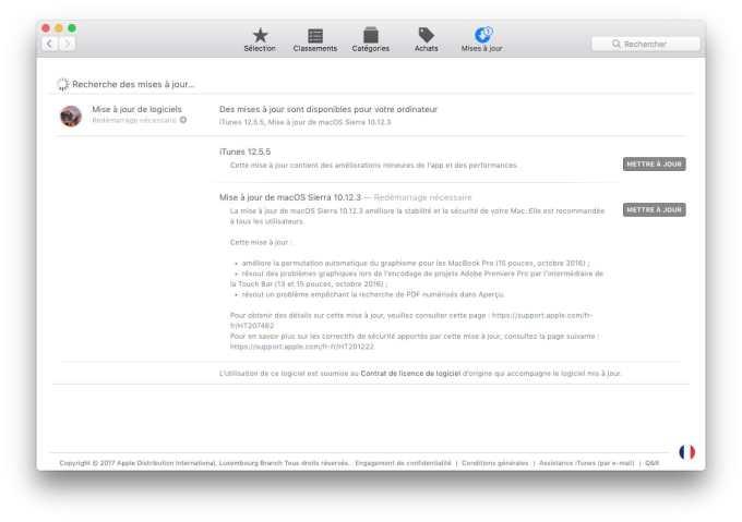macOS Sierra 10.12.3 update
