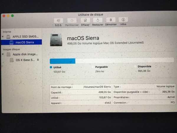 Verifier le disque de son Mac OS Sierra disk utility