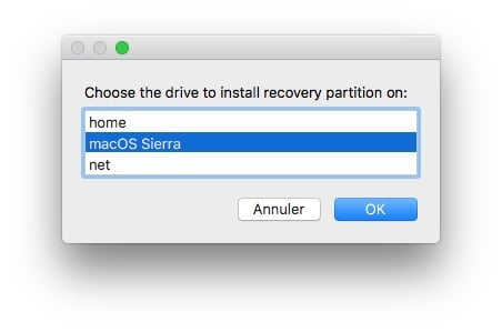 Reconstruire la partition Recovery Mac recovery partition creator sierra
