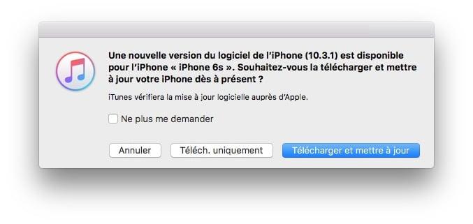 iOS 10.3.1 update itunes