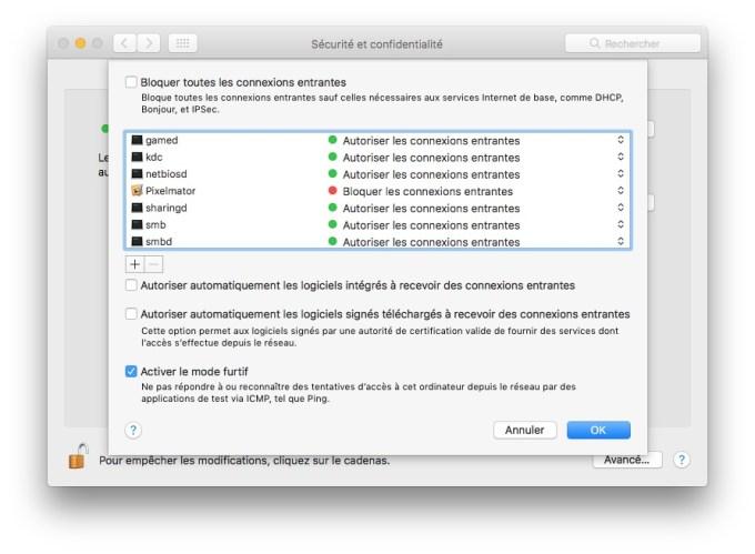 bloquer toutes les connexions entrantes sur mac