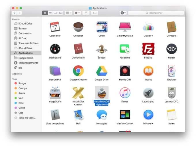 Creer une cle USB bootable de macOS High Sierra telecharger application