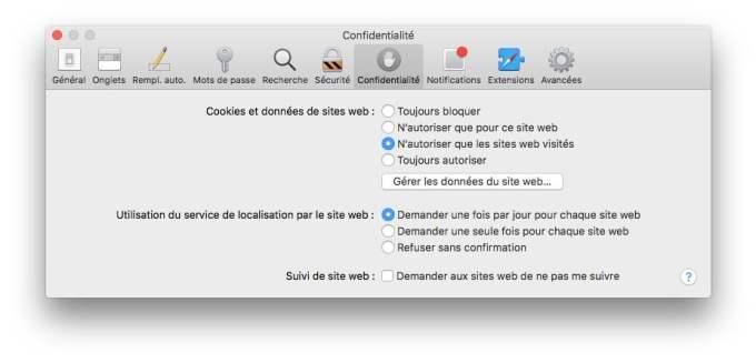 Nettoyer les cookies sur Safari Mac confidentialite
